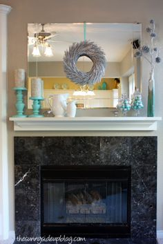Mantle Decor: This girl's blog/site/ whatever shows how she made small changes to move from a cool winter vibe to a Valentine theme! So great!! Love the glass jars especially!