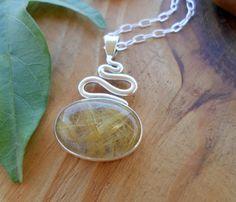 Golden Rutile Quartz sterling silver pendant, artisan jewelry, silversmith pendant,  gemstone pendant, silversmith jewelry, quartz cabochon