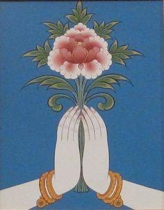 Hands and Lotus by Bhutanese Artist Phurba Namgay Tibetan Art, Buddhist Art, Buddha Buddhism, Hindu Art, Asian Art, Illustration Art, Images, Drawings, Artwork