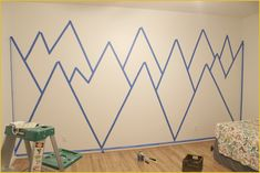 how to tape before painting a mountain mural - How to paint a mountain mural - kinderzimmer Baby Room Design, Baby Room Decor, Nursery Room, Nursery Decor, Nursery Murals, Baby Boy Rooms, Baby Boy Nurseries, Baby Bedroom, Girls Bedroom