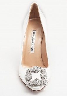 Manolo Blahnik Hangisi Jeweled Pump White #daily