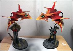 Warhammer 40k, Eldar Crimson Hunters. Sweet custom basing and dynamic posing