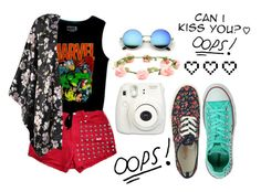 """""""Can I Kiss You?"""" by thaisa-tcs ❤ liked on Polyvore featuring Boohoo, Retrò, Converse and Wet Seal"""