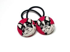Handmade Kawaii Pink White Black Japanese French Bulldogs Animal Children Girl Fabric Button Ponytail Holder Elastic Hair Ties Girly Gifts by TheButtonGirlShop on Etsy