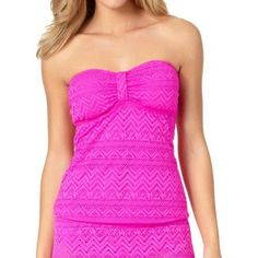 Catalina Missy Solid Crochet Bandini Top, Women's, Size: Medium, Pink
