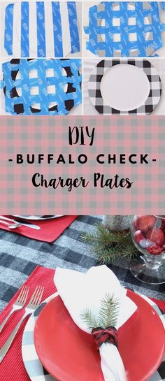 Christmas DIY: Illustration Description These Buffalo Check Charger Plates were such an easy DIY - perfect for a holiday table setting! Plaid Christmas, Christmas Crafts, Christmas Decorations, Buffalo Check Christmas Decor, Holiday Decorating, Nordic Christmas, Modern Christmas, Xmas Ornaments, Country Christmas