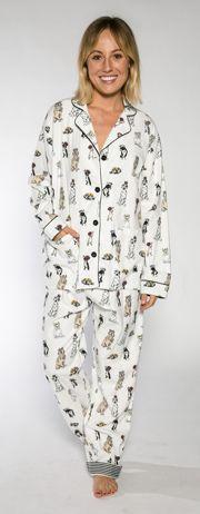 PJ Salvage Women's Royal Dogs Flannel Pajama Set in Ivory #pajamas