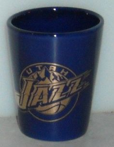Utah Jazz Blue Gold Mountains NBA Ceramic Shot Glass Shooter Basketball Team  ~ This Item is for sale at LB General Store http://stores.ebay.com/LB-General-Store ~Free Domestic Shipping ~