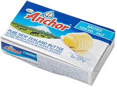 Anchor Unsalted Pure New Zealand Butter. Cows can graze year-round in New Zealand, and these cows are free-range and grass-fed. No hormones and of course no GMOs. As ruminants, cow's digestive systems are not designed for grain. Cow Digestive System, Food Pyramid, Grass Fed Butter, Cooking Ingredients, Unsalted Butter, Packaging Design, Anchor, Free Range, Pure Products