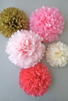 Boho Chic Tissue Paper Pom Poms - 5 Piece Collection - Weddings - Bridal Shower - Party Decorations - Birthdays - Boho - Romantic