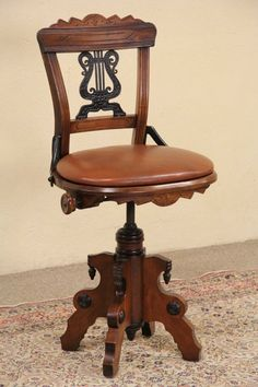Swivel 1880 Eastlake Antique Musician Chair or Piano Stool, Leather #VictorianorEastlake