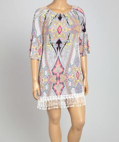 Light Blue & Gray Diamond Shift Dress - Plus #zulily #zulilyfinds