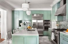 Furniture Design Models in Pretty Performance: Stunning Painted Floors In A Modern Kitchen Interior With Green Kitchen Furniture With White . Mint Green Kitchen, Aqua Kitchen, Kitchen Cabinet Colors, Painting Kitchen Cabinets, Kitchen Paint, Kitchen Colors, Turquoise Kitchen, Kitchen Backsplash, Kitchen Island