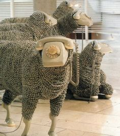 Sheep Sculptures - Jean-Luc Cornec - recycled wool and rotary phones