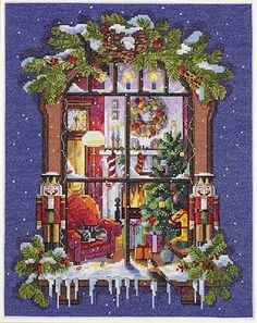 Janlynn Christmas Window - Cross Stitch Kit. Celebrate with a bird's eye view! Look in and enjoy the warmth and anticipation of an enchanting Christmas Eve. Thi
