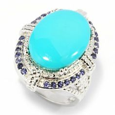 Gem Insider Sterling Silver 18 x 13mm Sleeping Beauty Turquoise & Iolite Halo Ring