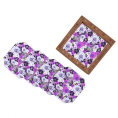 Aimee St Hill Croc And Flowers Blue Coaster Set | DENY Designs Home Accessories