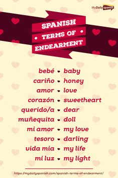 learning spanish Whether its for your lover or your child, here are some of the cutest Spanish nicknames / pet names or terms of endearment you can use. With free PDF! Common Spanish Phrases, Spanish Help, Spanish Notes, Learn To Speak Spanish, Learn Spanish Online, Spanish Basics, Spanish Grammar, Spanish Vocabulary, English Phrases