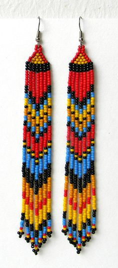 Extra long earrings Long dangle earrings Very par HappyBeadwork