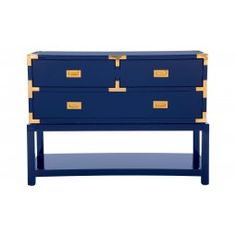 """Our deeply laquered Palms Console would be stunning in an entryway, living or dining room. The deep blue sea color is so seductive, as if an invitation to dive right in. We love the shiny brass pulls, the decorative hardware, and the Asian influence.      •41.5""""W x 18.75""""D x 30""""H  •high gloss lacquer  •brass pulls and corner detail"""