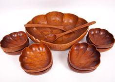 Vintage Monkey Pod Wood Large Salad Bowl Serving Bowls Salad Tossers 11 Piece Set Hand Carved Made in Philippines Scalloped Design on Etsy, $49.00