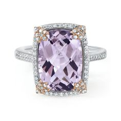 Cushion Cut Rose de France Amethyst Ring in Sterling Silver available at #HelzbergDiamonds