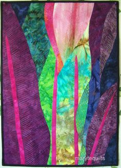 Art quilt fiber art wall hanging Tropics by marytequilts on Etsy