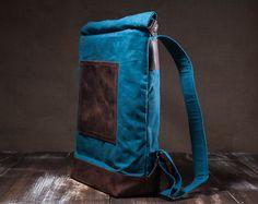 Waxed canvas rugzak roll top zak dragen alle rugzak door Tram21