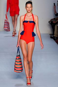 Marc by Marc Jacobs Spring 2012 collection. Tangerine red and navy - Hot! Retro-inspired bathing suit with peplum. Love the bag too!!