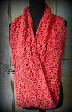 Ravelry: Rouge Infinity Scarf pattern by Sheri Weber Crochet Winter, Knit Or Crochet, Crochet Scarves, Crochet Shawl, Crochet Crafts, Crochet Clothes, Crochet Projects, Free Crochet, Diy Crafts