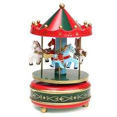 GreenRed 1Pc  Wooden  Plastic MerryGoRound Carousel Music Box Christmas Birthday Gift Toy Set101 >>> Click on the image for additional details.