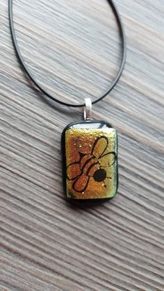 Bumble Bee Gifts, Honey Bee Jewelry, Insect Pendant, Gold Dichroic Glass Necklace, Fused Glass Jewellery for Her, Birthday Gift for Mother