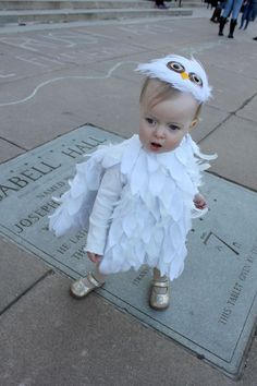 Lottie dressed as little Hedwig to go with her big sister Hermione . After looking at many many baby owl and Hedwig costumes on .  sc 1 st  Pinterest & DIY Halloween u2013 Baby / Toddler Hedwig the Owl Costume from Harry ...