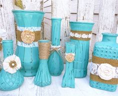 Shabby Chic Craft Ideas | ... shabby chic vases with burlap by sofrickincute turquoise rustic shabby