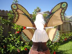 Earth tone green and blue Butterfly Fairy wings by KissedByPixies, $75.00