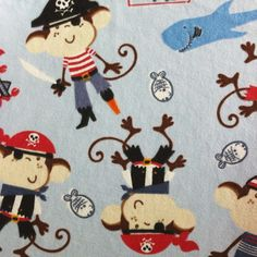 Snuggle Flannel Fabric- Monkey Pirates