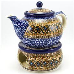 Polish Pottery Stoneware Bedtime Teapot and Warmer $182
