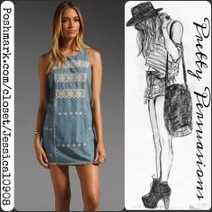 "NWT Free People Chambray Embroidered Shift Dress NWT Free People Chambray Tribal Embroidered Shift Dress   ***Sold out everywhere***  Size labeled: Large Measurements taken in inches:  Length: 36"" Bust: 39"" Waist: 38"" Hips: 38""  • Sleeveless  • Embroidered tribal/boho design  • Frayed bottom hemline • Light, soft material • Relaxed fit • Back single button closure (easy to button) & small keyhole opening bellow button closure • Round neckline  Bundle discounts available • Fair offers welcome…"