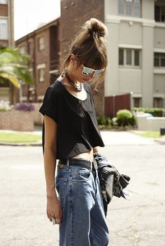 what-do-i-wear: top - AMERICAN APPAREL silky loose crop tee jeans - vintage LEVI's 504's from salvos(image: lovemore)