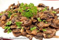 sote-de-ciuperci Low Carb Recipes, Healthy Recipes, International Recipes, Vegetable Dishes, Ratatouille, Pesto, Broccoli, Recipies, Vegetables