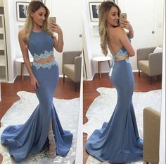 Two Pieces Prom Dresses,Mermaid Evening Dresses,Open Back Pageant Dresses,PD2055