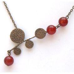 Antiqued Brass Leaf Red Agate Necklace