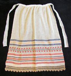 Vintage apron 1800's handsewn apron with cross door mathildasattic, $42.00