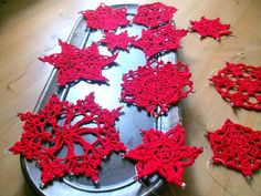 11Red Lace Snowflake Ornament SetChristmas by MyDreamCrochets, $29.00