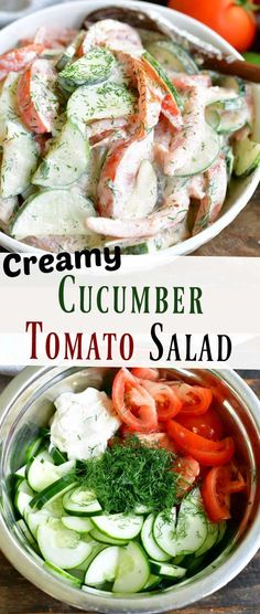 Creamy Cucumber Tomato Salad, Creamy Cucumbers, Cucumber Salad, Veggie Recipes, Salad Recipes, Healthy Recipes, Cucumber Recipes, Healthy Food, Dinner Recipes