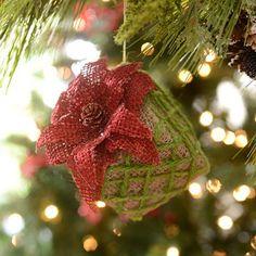 Burlap Poinsettia Gift Box Ornament; $5.99