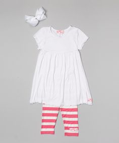 Loving this White & Pink Ruffle Babydoll Dress Set - Infant, Toddler & Girls on #zulily! #zulilyfinds