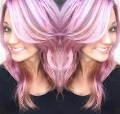 pastel+pink+hair+with+white+highlights+and+brown+lowlights
