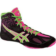 Asics Cael V6.0 Wrestling Shoes - Black/Green Gecko/Knockout Pink #scoreboardsports @scoreboardsports