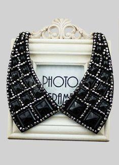 Collar desmontable de color negro con cristal - Milanoo.com